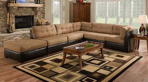 Leather And Upholstered Sofa Camel Fabric Sectional Sofa W Brown Faux Leather Base Meble