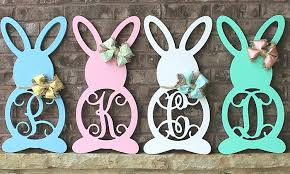 monogrammed bunny wooden monogrammed bunnies whimsy timber groupon