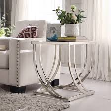 modern end tables for living room anson steel brushed arch curved sculptural modern end table by