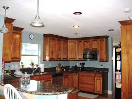 light blue kitchen walls blue kitchen walls with brown cabinets
