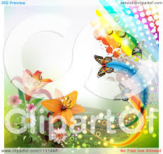clipart background of lilies a rainbow and butterflies 2 royalty