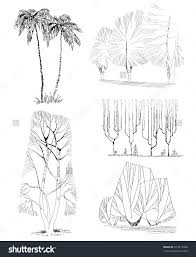 trees isolated sketch architectural style set save to a