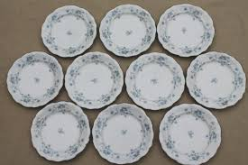 set of 10 blue garland china bread butter plates vintage