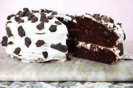 Chocolate Studded Chocolate Cake With Vanilla Yogurt Frosting