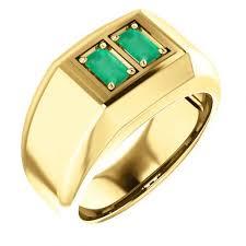 mens gold ring 1 0ct genuine emerald emerald cut