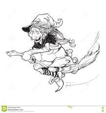 halloween flying witch background witch flying on a broom sketch white background stock vector
