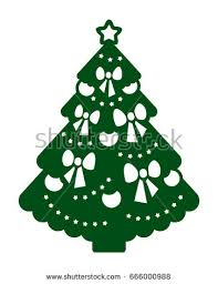 laser cutting template christmas tree ornaments stock vector