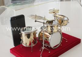 golden miniature drum set metal crafts ornament for miniature