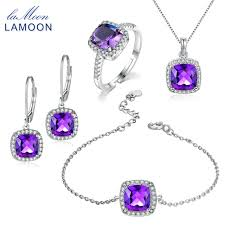 amethyst jewelry necklace images Lamoon square cut 100 natural purple amethyst jewelry sets 925 jpg