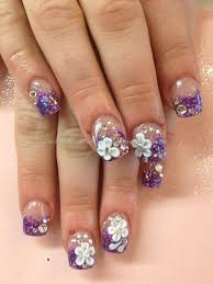 somethings about nail art rhinestone purple glitter sculptured acrylics with 3d flower nail art and