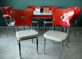 Yellow Retro Kitchen Chairs - vintage 1950s red kitchen diner table set with 6 chairs table
