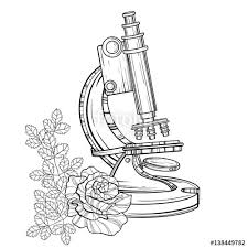 vector old microscope with roses vintage hand drawn illustration