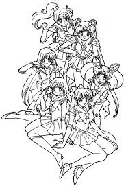 sailor moon really like with her friend coloring pages coloring
