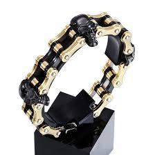 bracelet gold skull images 18mm punk rock boys mens skull bracelet black gold silver bicycle jpg