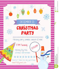 christmas party funny poster with decorations stock vector image