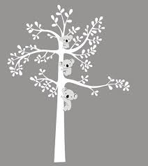 White Tree Wall Decal Nursery Vinyl White Tree Wall Decal Nursery Wall Sticker Bears