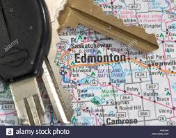 Map Alberta Canada by A Close Up Of A Map Of Edmonton Alberta Canada With Car Keys Stock
