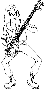 guitar player coloring pages standing bass guitar player