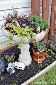 diy fairy garden from a salvaged bird bath farmhouse made