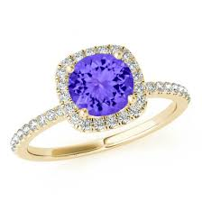 tanzanite engagement ring 7 5mm tanzanite cushion halo engagement ring 14k yellow