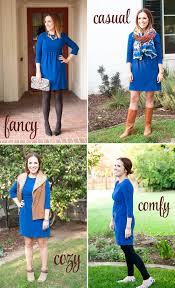 how to dress for thanksgiving 4 ways to style a blue dress the chic site