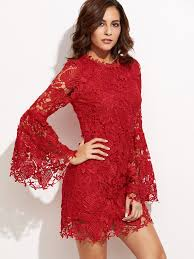 red embroidered lace overlay bell sleeve dress makemechic com