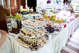 food tables at wedding reception elegance wedding reception table with food and decor stock photo
