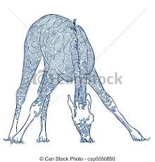 pen sketch of a giraffe in blue ink vector clipart search