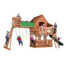 cedar swing set backyard discovery playset club house slide swing