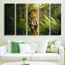 Jungle Home Decor Painting Canvas Tiger In Jungle Wall Decoration Painting