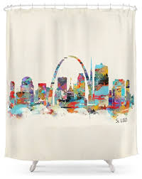 Curtains St Louis Louis Missouri Skyline Shower Curtain Contemporary