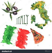 handdrawn watercolor set on theme italy stock illustration