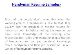 handyman resume how to handyman resume sles for handyman