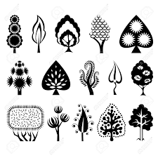set of decorative trees royalty free cliparts vectors and stock