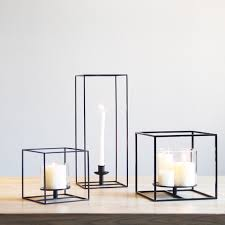 metal tea light holders square black cuboid metal tealight candle holders tabletop