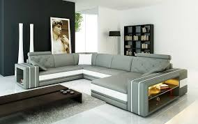 Modern Gray Leather Sofa Grey Leather Sectional Sofa With Display Shelves Vg142 Leather