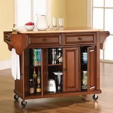 Kitchen Island Buffet The Rolling Organized Kitchen Island Hammacher Schlemmer