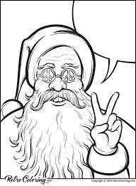christmas coloring page with hippie santa claus retrocoloring