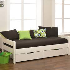 white wooden daybed with double storage and black bed sheet