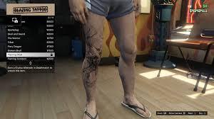 image tattoo gtav online male right leg flaming skull jpg gta