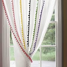 White Curtains With Pom Poms Decorating Magnificent Curtains With Pom Poms Designs With The Emily Meritt