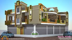 2 house plans with shops on ground floor kerala home design and