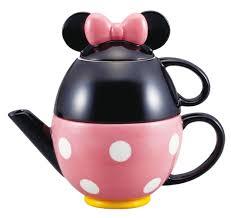 amazon com disney tea set minnie mouse pot and mug san2171