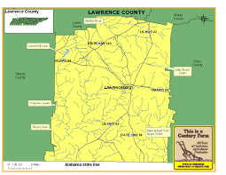 Map Of Alabama And Tennessee by Lawrence County Tennessee Century Farms