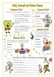 esl worksheets for beginners past present and future tenses