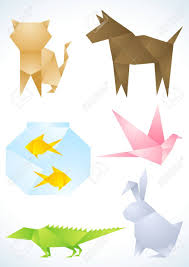 Origami Pets - origami pets made out of colored paper royalty free cliparts