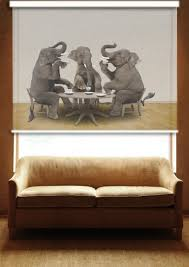 roller blind printed with a getty image of an elephant tea party