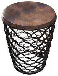 Small Metal Accent Table Arabesque Small Round Accent Table With Antique Copper Top