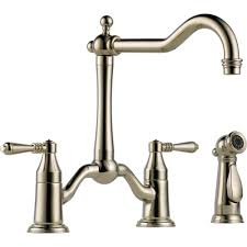 double handle kitchen faucet brizo 62536lf pc tresa polished chrome two handle bridge kitchen