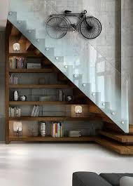 cool glass stair railing with bicycle wall art